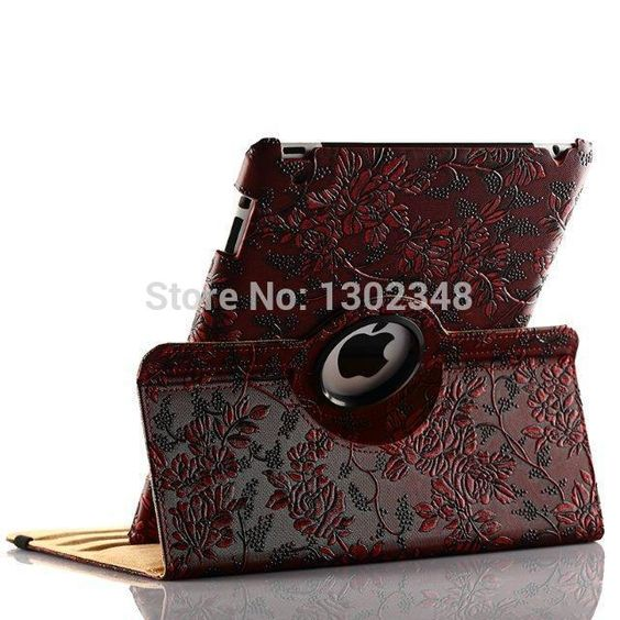 $13.65 (Buy here: http://appdeal.ru/8k7j ) 360 Degree Rotating Grape Grain Pattern PU Leather Case For Apple iPad Mini iPad 2 3 4 iPad Air 5 Luxury Smart Cover Stand Flip for just $13.65
