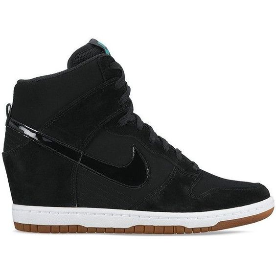 Nike Women's Dunk Sky Hi Essential Wedge Sneakers ($120) ❤ liked on Polyvore featuring shoes, sneakers, black, suede wedge sneakers, wedged sneakers, kohl shoes, black wedge trainers and nike trainers