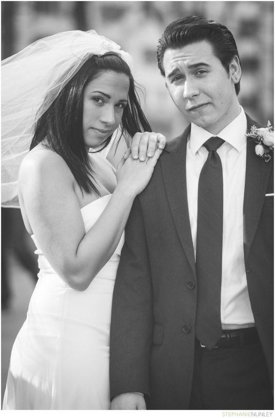 Black and white New York City classic wedding portrait.