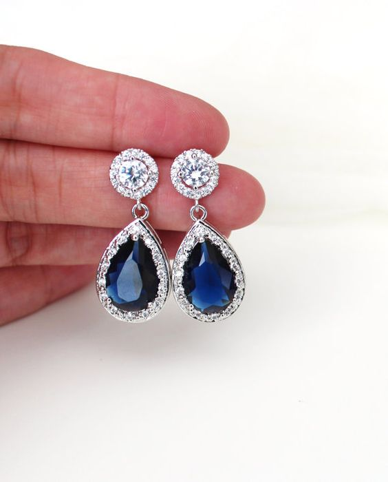 Elegant Blue Sapphire Crystal Teardrop Wedding Bridal Earrings , September Birthstones Gemstone Jewelry Gift for Bridemaid