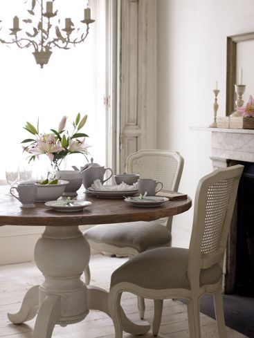 """Willow"" round dining table in white with distressed accents by Shabby Chic from Rachel Ashwell."