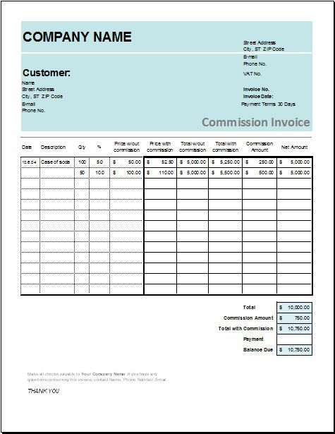 Commission Invoice DOWNLOAD at http\/\/worddoxorg\/account-transfer - invoice spreadsheet