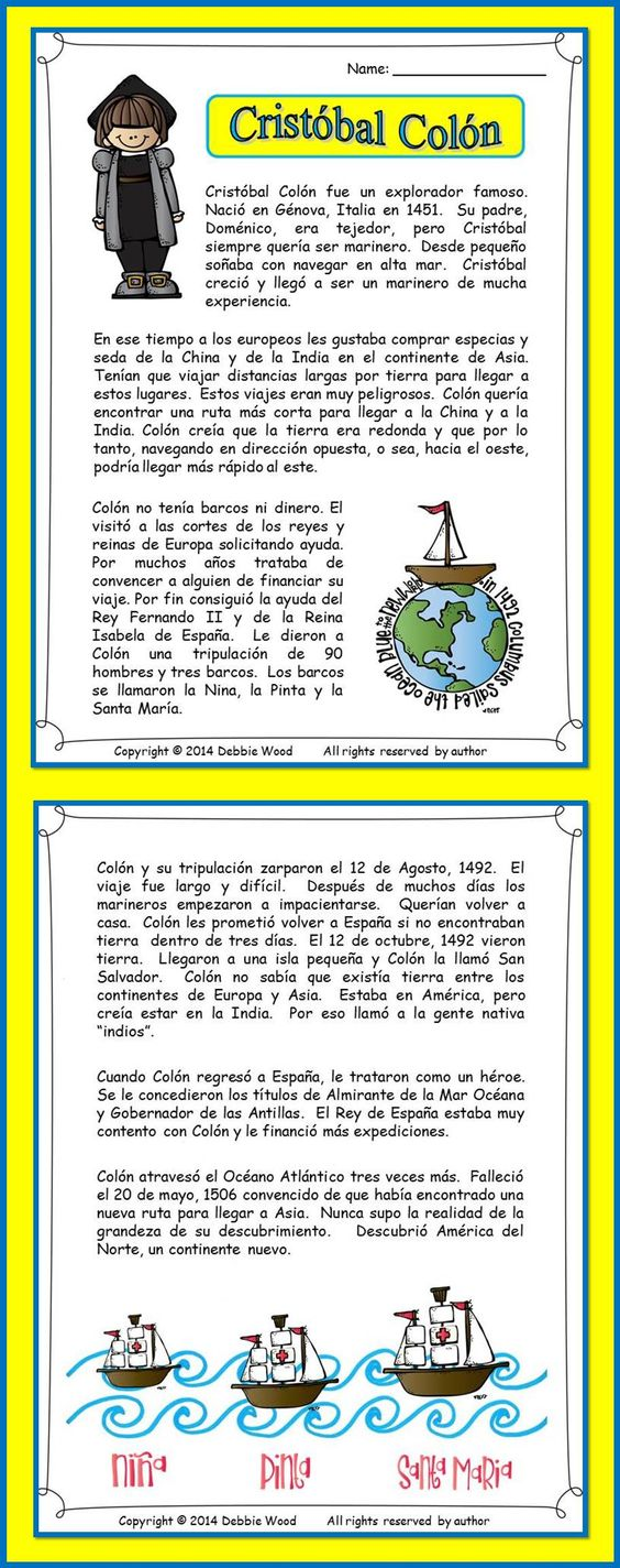 Cristobal Colon: Bilingual Reading for Spanish Language Class. Includes 2 page biography of Christopher Columbus and 7 vocabulary and grammar worksheets.