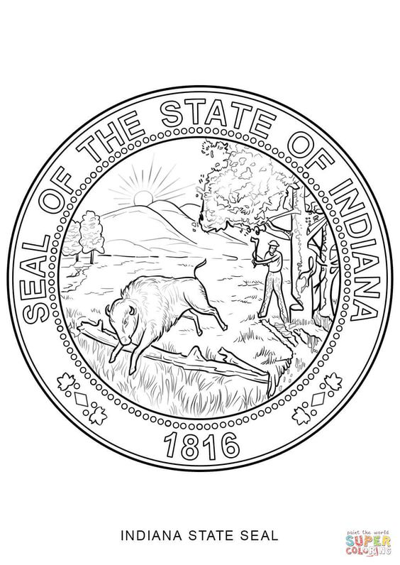 Click The Indiana State Seal Coloring Pages To View Printable Version Or Color It Online Compatible Wit Flag Coloring Pages Bird Coloring Pages Coloring Pages