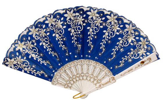 "Folding Silk Hand Fan Blue with Flower Pattern 9"":"