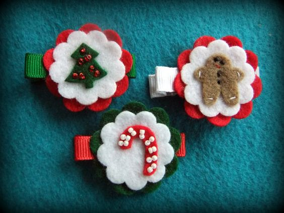 Christmas felt hair clips