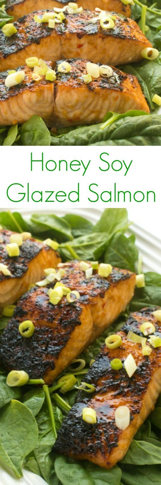 The ultimate fast weeknight dinner recipe, this Honey Soy Glazed Salmon comes together in less than 15 minutes!