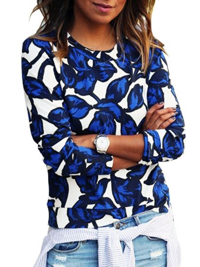 Round Neck Leaves Print Sweatshirt