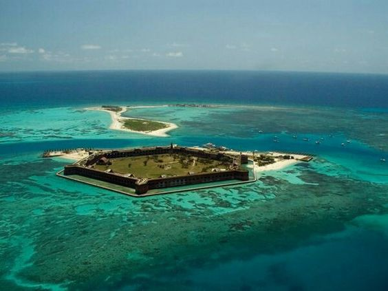 Fort Jeffersonis a massive but unfinished coastalfortress. It is the largestmasonrystructure in the Americas,and is composed of over 16 million bricks. The Dry Tortugas are part ofMonroe County,Florida,United States. The fort is located onGarden Key in the lowerFlorida Keyswithin theDry Tortugas National Park, about 70 miles (110km) west of the island ofKey West.