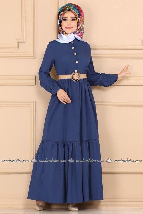 Modaselvim Elbise Hasir Kemerli Tesettur Elbise Ast3014 Indigo Elbise The Dress Abaya Tarzi