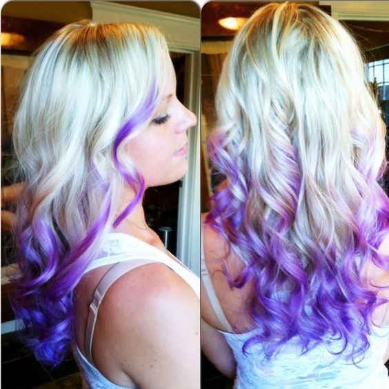 platinum blonde hair color with ends in dark purple using