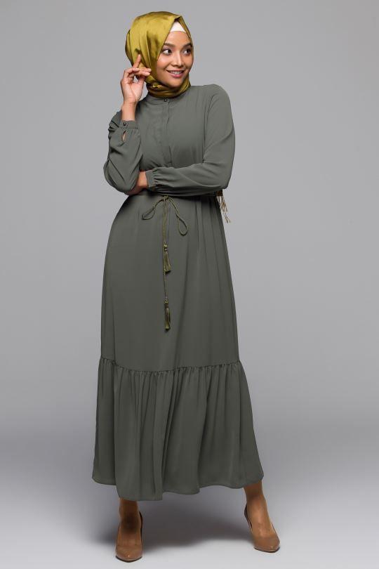 Firfir Detayli Elbise Armine Elbise Elbise Modelleri Giyim