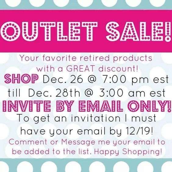 If you do not have a consultant, but would like to shop my OUTLET SALE *STARTING Dec 26, 7pm EST, just COMMENT HERE OR EMAIL ME* at: ahannum31@gmail.com... With your email so I can send you a specific outlet link!! *Save the pin and click through to shop the day of the sale too!