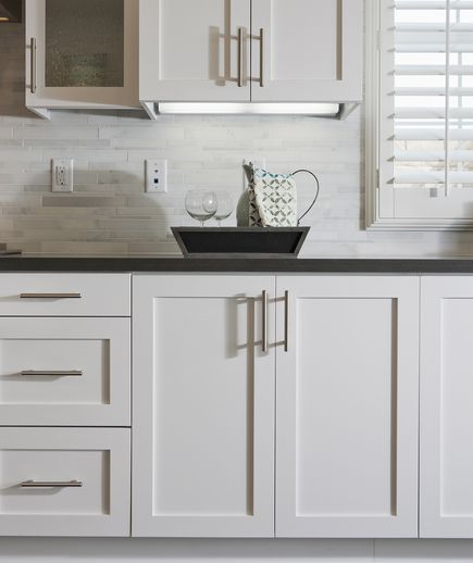 How to spruce up your rental kitchen trips white - Kitchen cabinets with handles ...