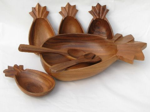 Vintage+Wooden+Salad+Bowl+Set | Retro vintage tropical wood salad bowls set, Hawaiian pineapple shape