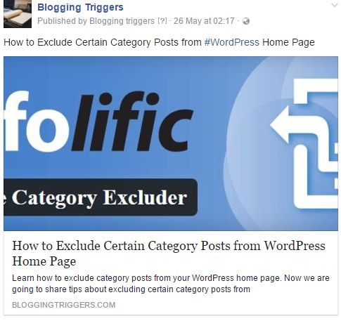 custom Facebook Thumbnail Image wordpress