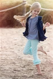 Persnickety Clothing - Triple Ruffle Legging Blue Dot.  Shipping is FREE for orders $79 and up at My Little Jules boutique. Free shipping orders going to Canada will only be tracked up to the border and may take up to 6 weeks to arrive.