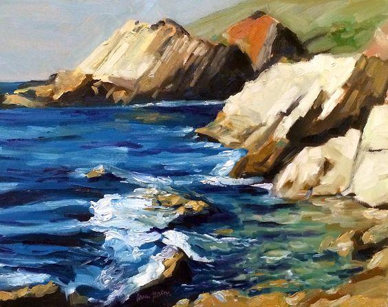 "Cliffs along Route 1, Monterey, CA by Arun Prem | $500 | 20""w x 16""h | Original Art | http://www.vangoart.co/buy/art/cliffs-along-route-1-monterey-ca @VangoArt"