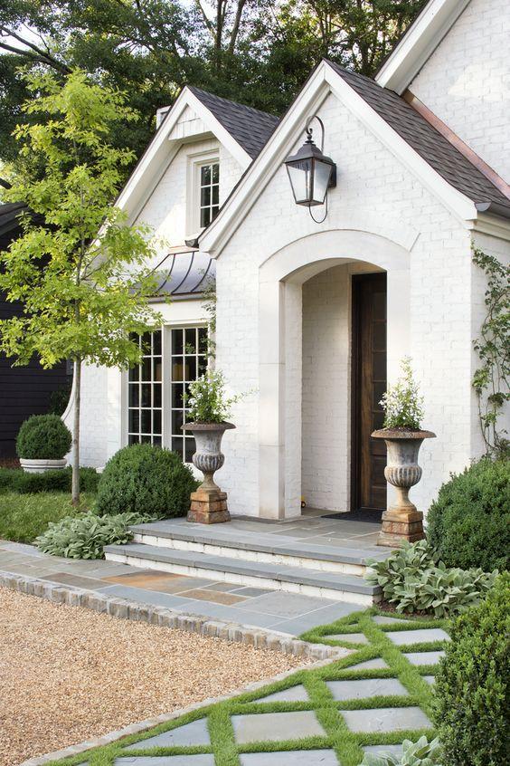 Beautiful white brick home exterior. #housedesign #houseexterior