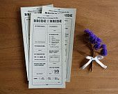 "Printable ""Bride & Bride"" Wedding Table Quiz or Survey - Alternative guestbook idea, place settings or guest entertainment - Gay wedding"