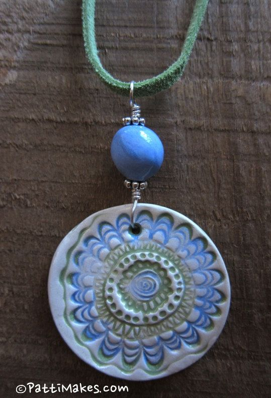 Blue and Green Fun Floral Ceramic Pendant and Bead - Handmade by Patti @ PattiMakes.com