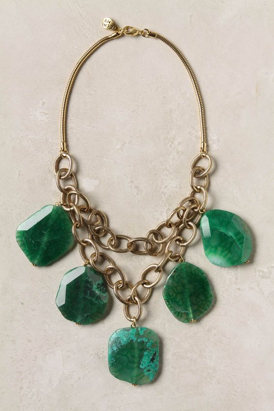 You are sure to make them green with envy with this bold statement Fairburn Necklace from Anthropologie.