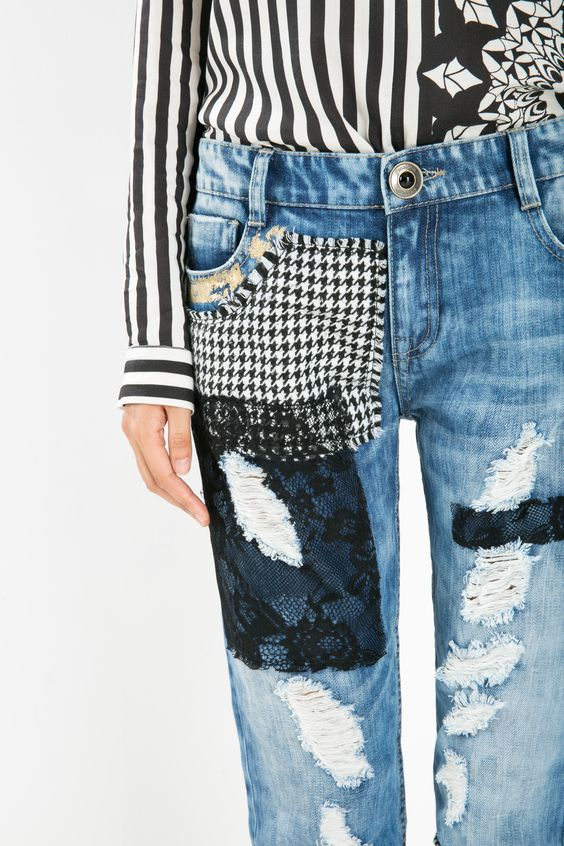 Be inspired by the most exotic denim collection. Check out the different texture cut-offs on these 100% unique ankle grazer jeans; they have a boyfriend fit around the waist and a skinny fit around the ankles. Discover the Exotic Jeans Experience!