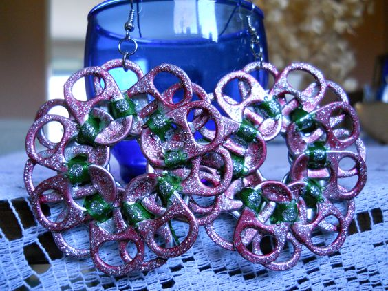 All Handmade Tab Earrings with Green Ribbon Fuchsia Paint and Silver Glitter Glue! Connected by fish/french hook wire