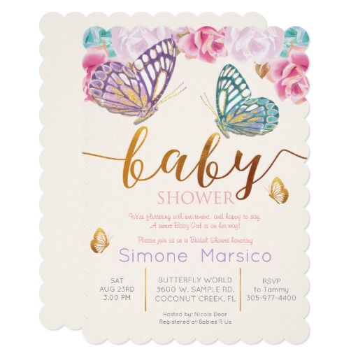 Butterfly Baby Shower Invitation Zazzle Com Butterfly Baby Shower Invitations Floral Baby Shower Invitations Butterfly Baby Shower