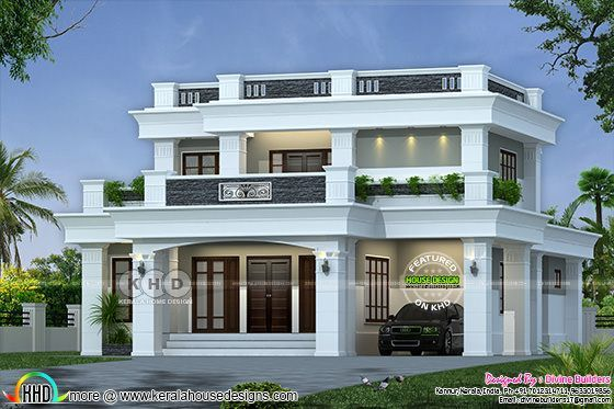 40 Lakhs Cost Estimated Decorative Flat Roof Home Kerala House