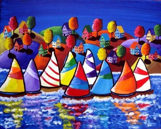 Colorful Fun Houses Sailboats  Whimsical by reniebritenbucher
