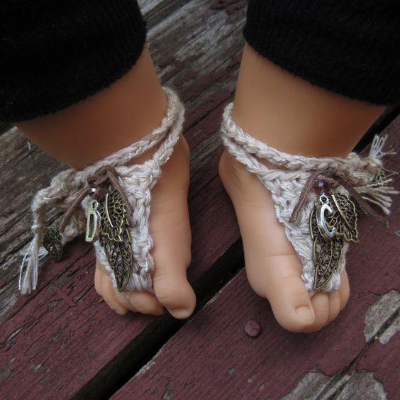 Boho chic baby barefoot sandals bohemian by Rosebudbabydesigns