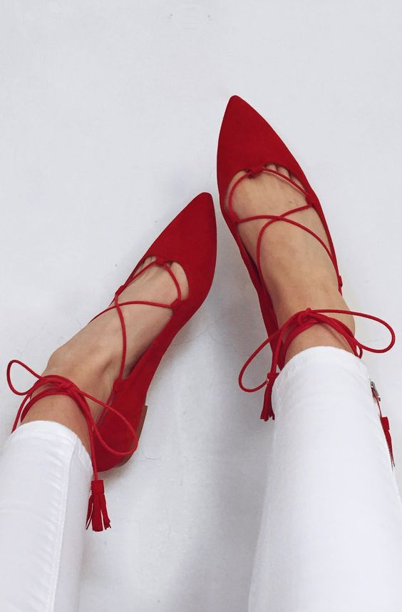 Red lace up flats https://www.pinterest.com/perviwin/pins/