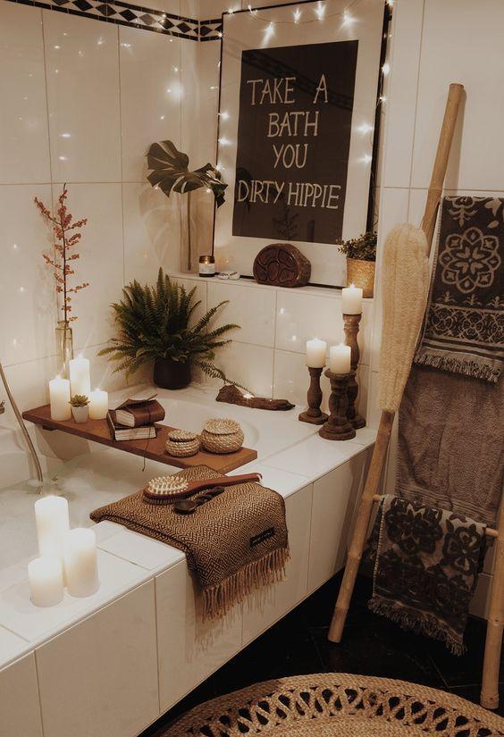 24 Beispiele Fur Pull Off Der Boho Stil In Ihr Badezimmer Badezimmer Kunst Dekor Bauernhaus Badezimmer