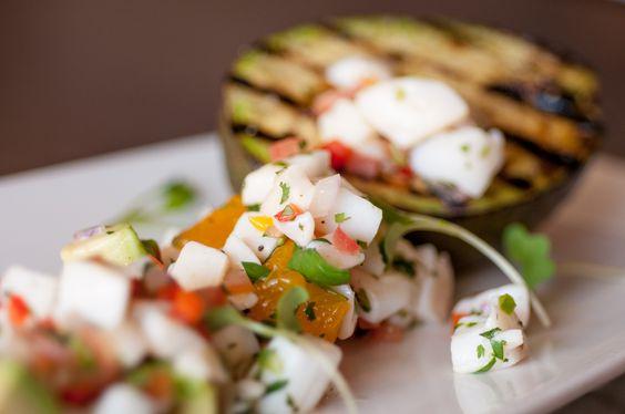 Scallop Ceviche | Fresh Scallop, Grilled Avocado, Red Onion, Red ...