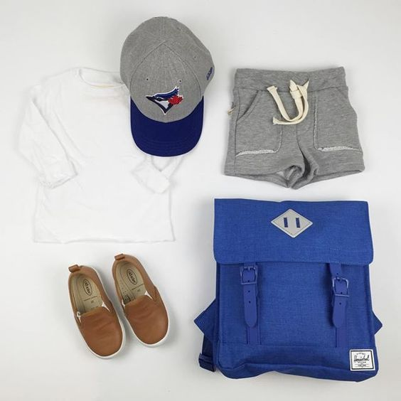 #ootd featuring the dream l/s tee, Jays hat #herschelsupply backpack, Bermuda short and leather slip-ons (on sale now).