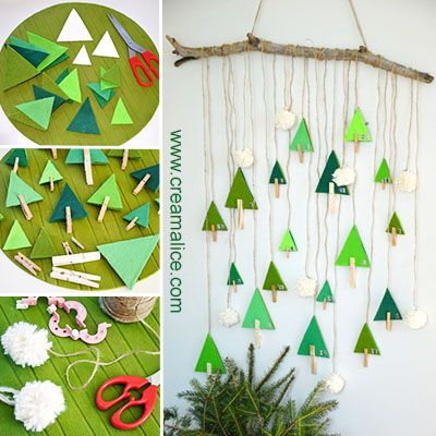 Diy calendrier de l 39 avent for t de sapins en feutrine for Decoration fenetre avent