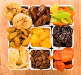 Iron Rich (Meat-free) Snacks for Kids ~ Cashews: 1/4C.=2.1mg., Roasted Soybeans: 1/4C.=2.1mg., Dried Dates: 4=1.8mg., Apricots: 1/4C.=1.5mg., Raisins: 1.5oz. box=0.8mg. (kids ages 1-3 need 7mg., ages 4-8 need 10mg.)