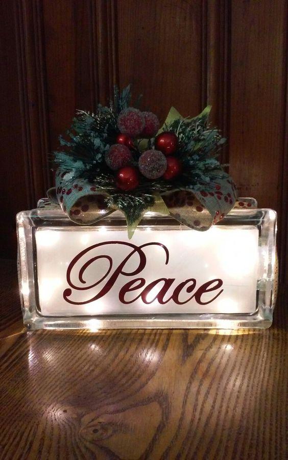 Peace Christmas glass block