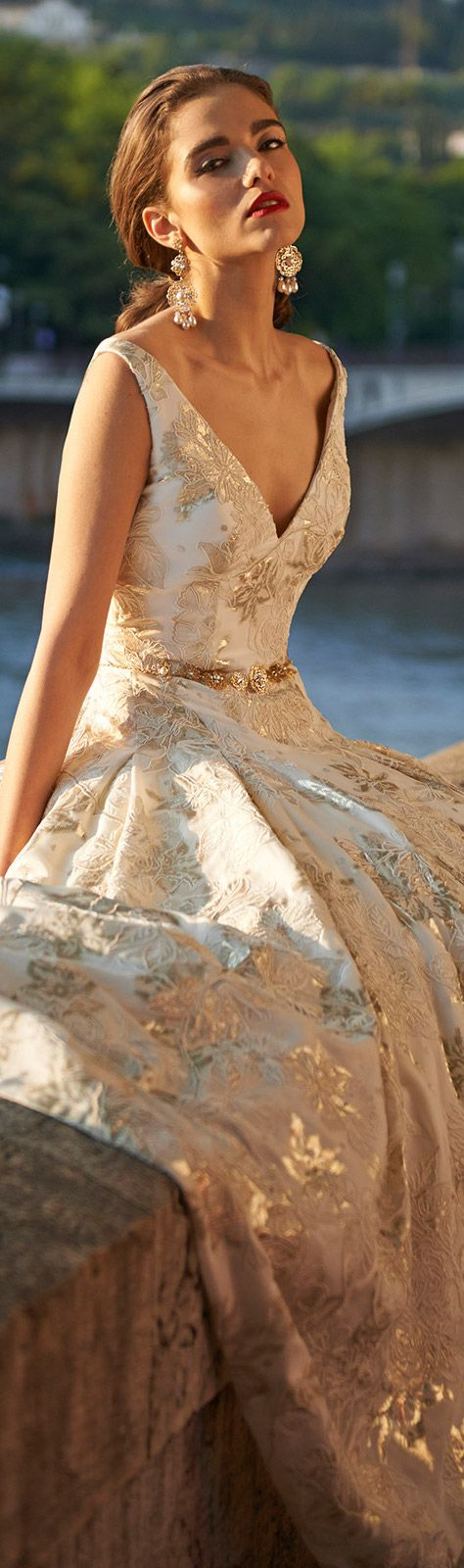 Cream and gold gown.
