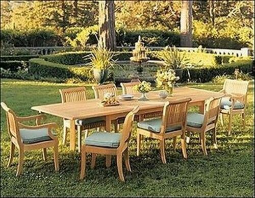 9 Piece Outdoor Teak Dining Set 94 Rectangle Table 8 Arm