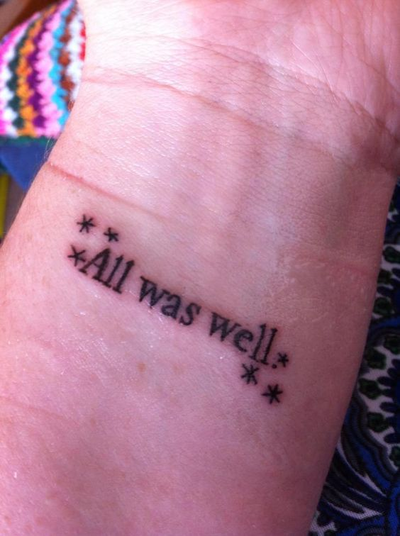 I love Literary tattoos !  This is the last line from HP & the Deathly Hallows.: