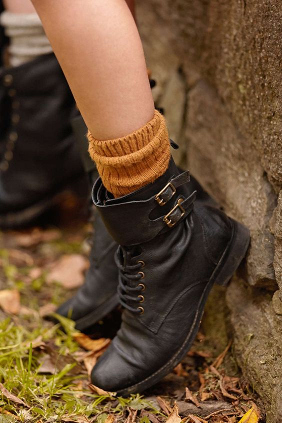 Love the cozy mustard sock with the boots combo, perfect for those ...