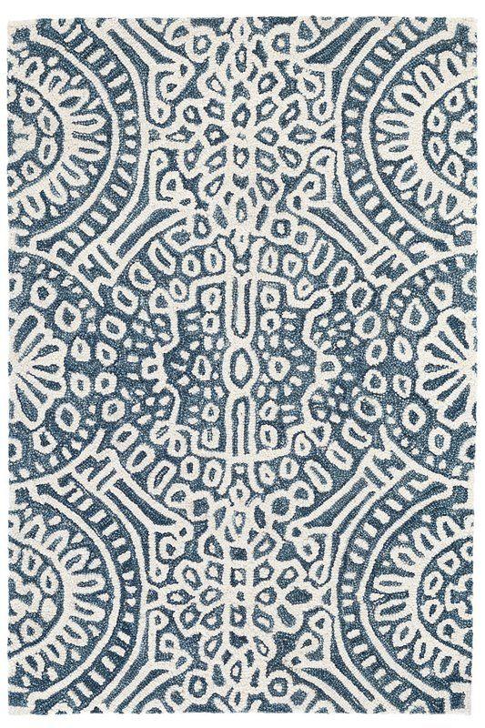 Temple Geometric Handmade Looped Hooked Wool Blue White Area Rug