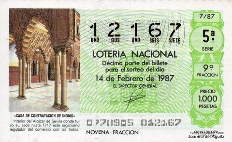 Décimo Del Sorteo Extraordinario De Lotería De San Valentin Celebrado El 14 De Febrero De 1987 Coleccionismo Loteria Col Lotería Nacional Lotería Sorteo