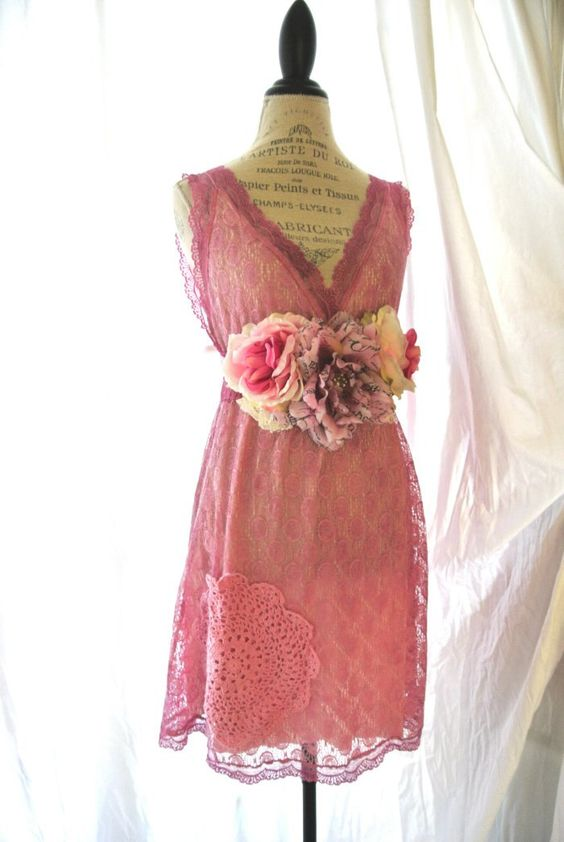 -Shabby lace sundress, gypsy cowgirl chic.