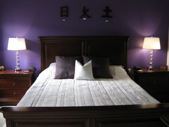 Romantic wine and chocolate master bedroom deep eggplant for Romantic purple bedroom