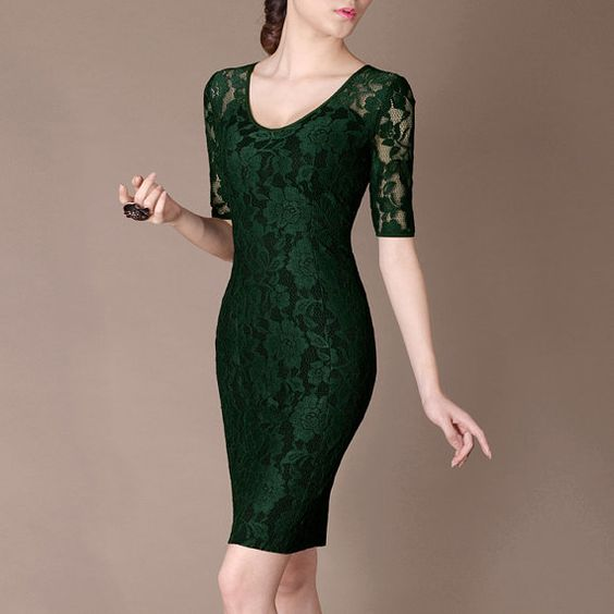 Simple Green Formal Lace Dress Half Sleeve Elegant by Chieflady ...