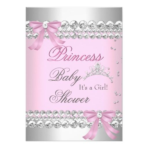 Baby Shower Girl White Pink Princess Tiara Gem 2 4.5x6.25 Paper Invitation Card