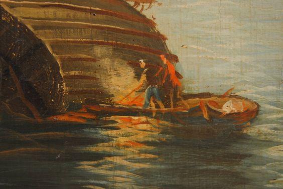 "Large Italian ""Capriccio"" Oil Painting, circa 1900, in Giltwood Frame image 5"